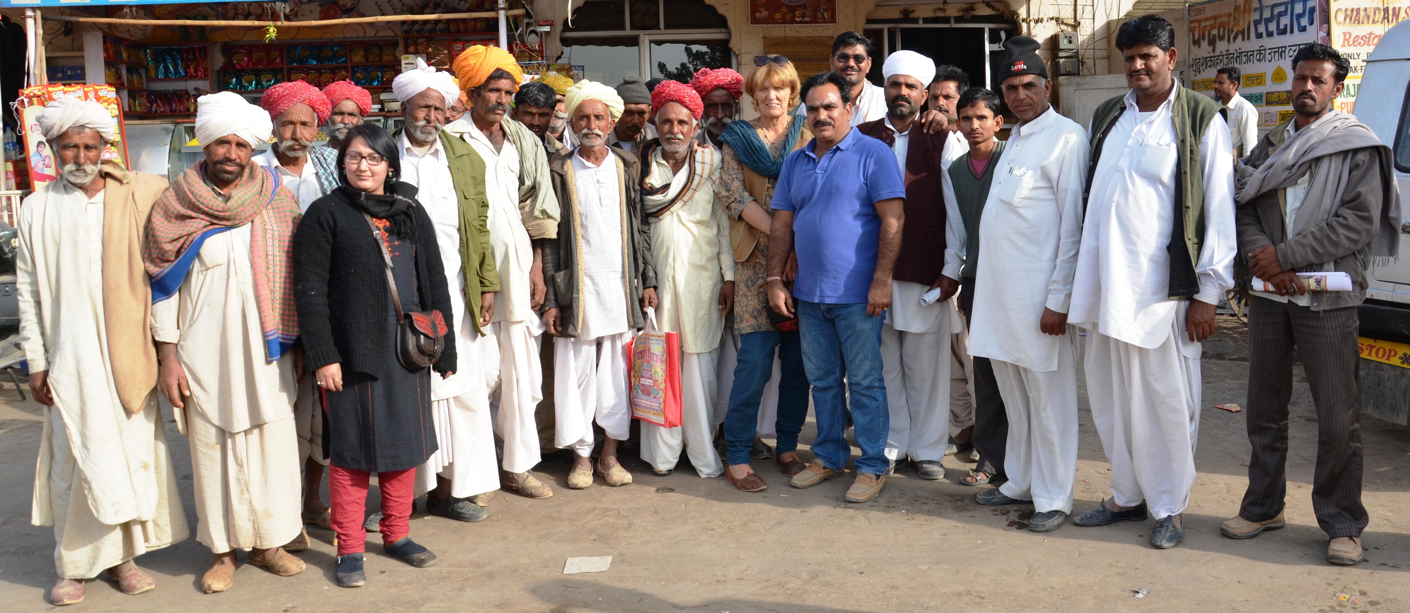 A group photo of Rajput, Bishnoi, Muslim, Raika camel breeders.