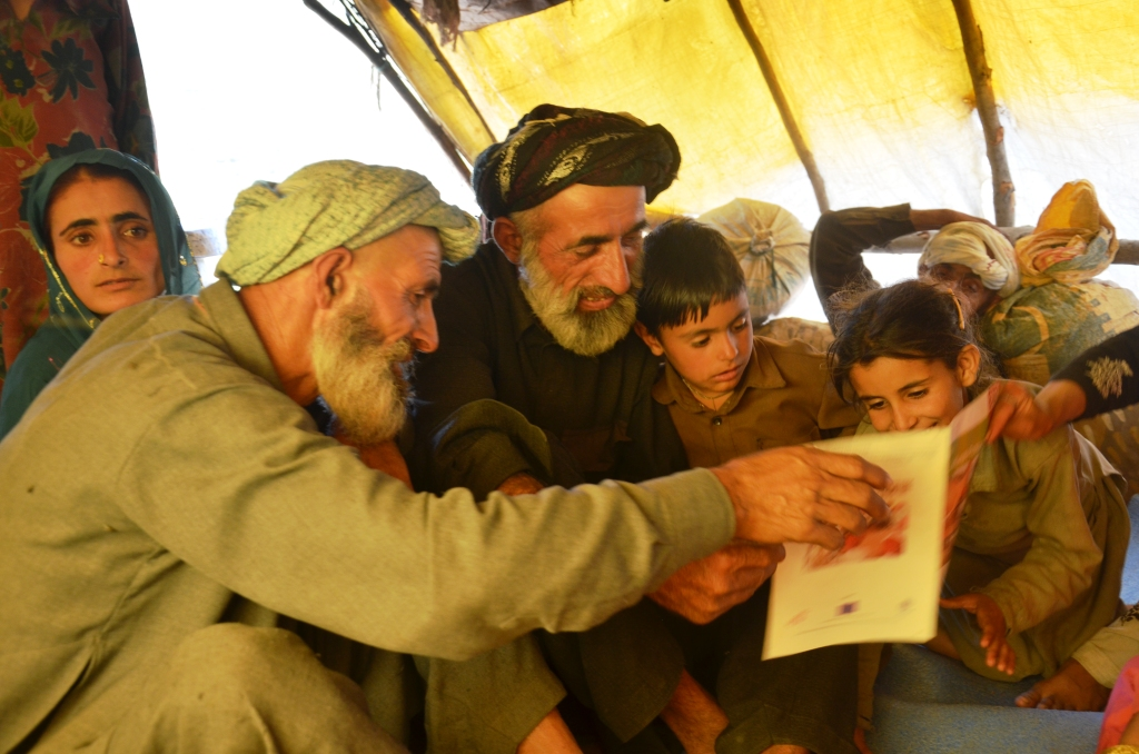 Bakkarwal herders from Kashmir looking at photos of breeds in the Raika Biocultural Protocol