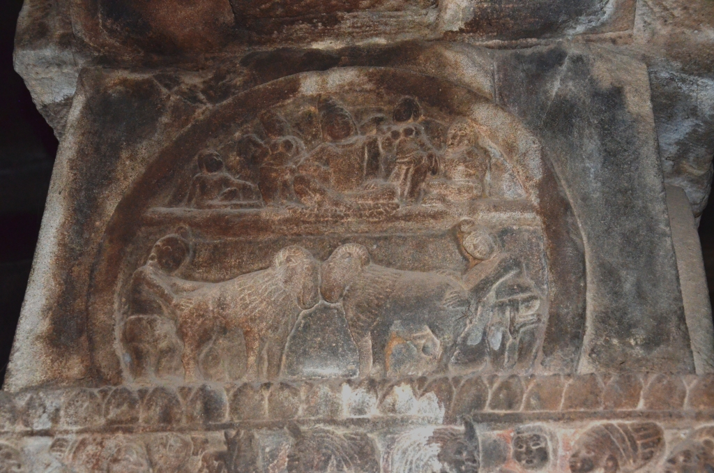 Depiction of a ram fight at Pattadakal from the 8th century A.D.