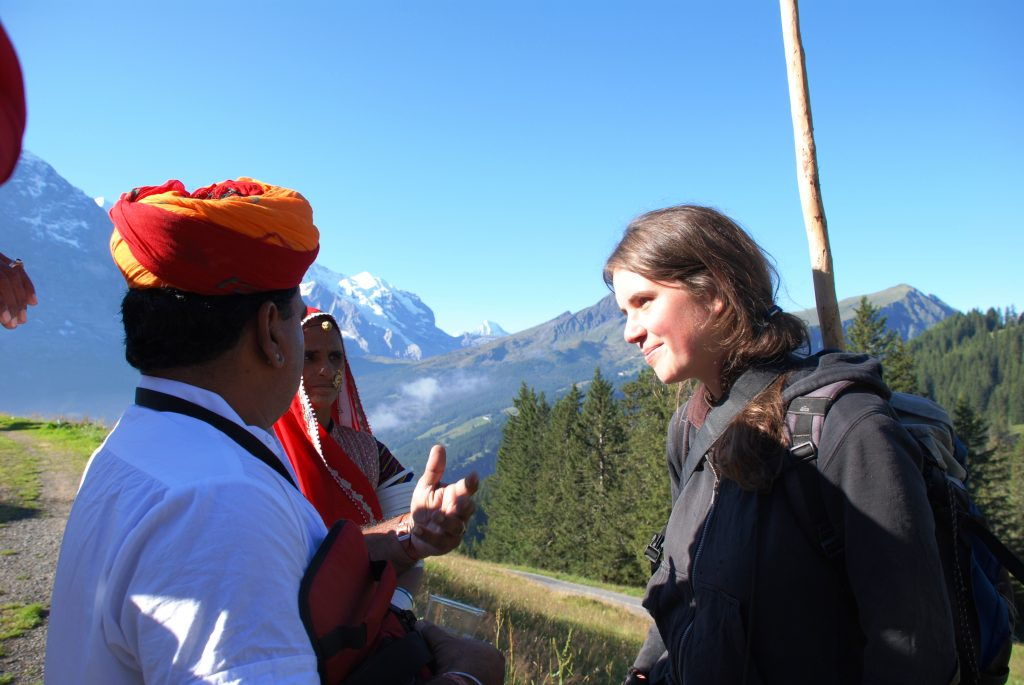 "Raika from Rajasthan meet a Swiss goat herd spending the summer in the Alps - during the First International ""Interlaken"" Conference on Animal Genetic Resources, September 2007"